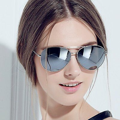 Sliver Mirror Lens Aviator Frame Women Men Sunglasses  Hot 100%UVA UVB