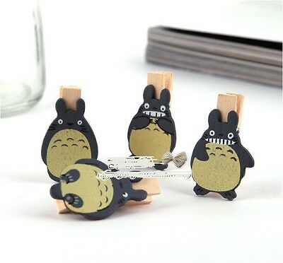 "16X Mini Wood Wooden Clip / Peg for Decoration Party Photo ""4 Design Totoro"""
