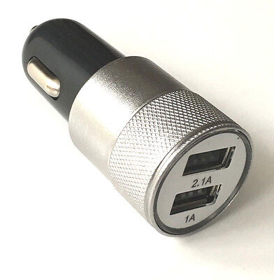 USB DUAL 2 in 1 LIGHT UP FAST CAR CHARGER IPHONE ANDROID IPAD GAME TRAVEL Silver