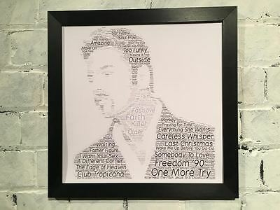 George Michael Word Cloud containing songs and lyrics with choice of frame. Gift