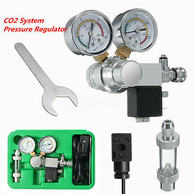 Aquarium Dual Gauge CO2 System Pressure Regulator w/ Bubble Counter Solenoid