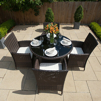 Rattan Garden Furniture Round Table And 4 Chairs Dining Set Outdoor Patio