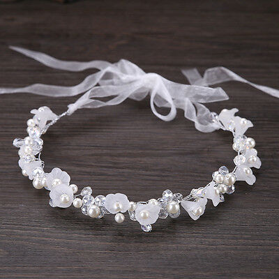 New Wedding Bridal Flower Pearl Headband Crystal Hair Vine Hairpiece With Ribbon