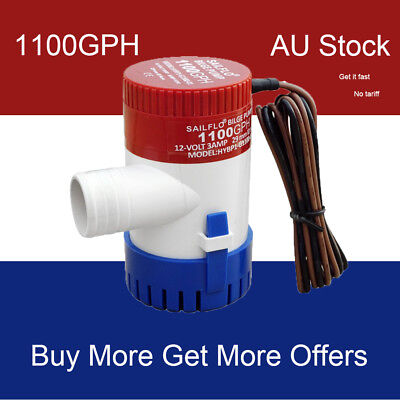 Brand New 1100GPH DC12V Submersible Bilge Water Pump Fishing Camping Automatic
