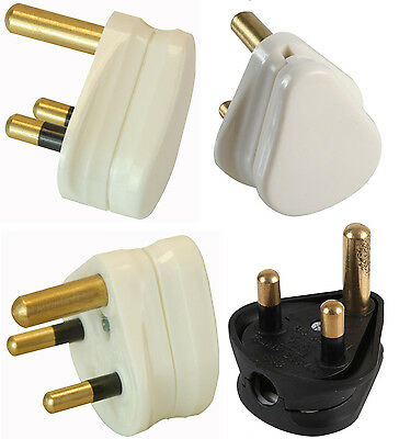 3 Pin Round Mains Plug 2A 5A 15A White Black PACKS OF 1 2 5 or 10 in 2 5 15 AMP