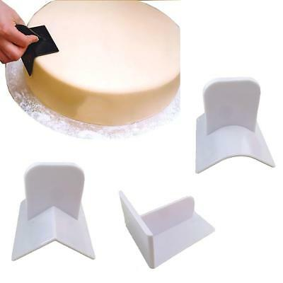3 Piece White Practical Cake Smoother Sharp Top Edger Decorating DIY Tool