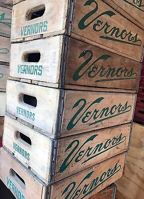 1 Vintage 1960's Vernors Wood Soda Pop Crates Excellent Shape!