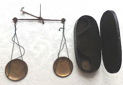 Antique Apothecary Hanging Balance  Scale,cased With Crown Motif Weight.