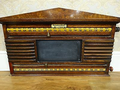 Antique Burroughes and Watts Oak snooker score board
