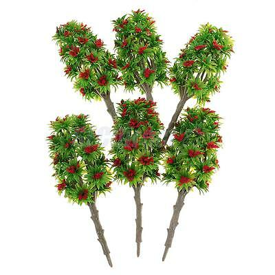 6x Red Flower Model Tree 1:64 Architectural Model Supplies Building Kits Toy