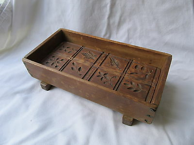Antique Hand Carved Butter / Springerle Mold Press with Tray