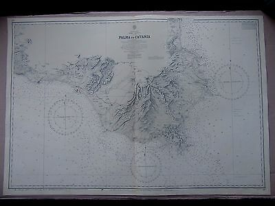 "1969 (1872) ITALY - SICILY South Coast Admiralty Sea MAP CHART 28"" x 41"" D12"
