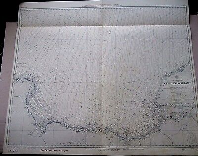 """1960 N. FRANCE LE Harve - CAPE LEVI to FECAMP Admiralty Map Chart 34"""" x 40"""" D37"""