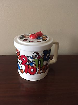 Disney Vintage Plastic Child's Kids Drinking Cup Mug Counting with Clock Lid