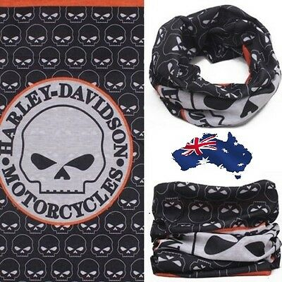 HARLEY DAVIDSON Face Mask for Bikers Tube Snood Bandanna Motorcycle Scarf SKULL