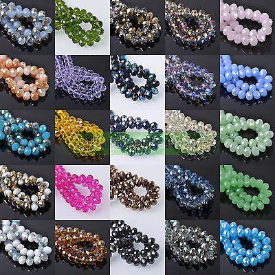 10/50pcs 12mm Rondelle Faceted Crystal Glass Loose Spacer Beads Jewelry Making