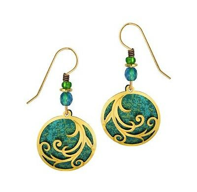 Adajio Shiny Gold Plated 'Ribbons'' on Rich Teal Disc Earrings Handmade in USA