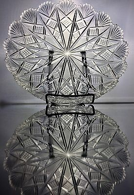 Stunning Antique ABP Cut Glass Crystal Dish American Brilliant Plate 10.5""