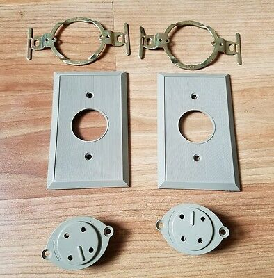 2 NOS Western Electric 4 Prong Telephone Jacks With Bell System Logo Phone Parts