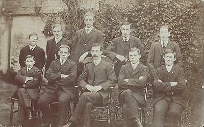 Romsey Hampshire - Handsome Men & Boys Sat Outside The House Vintage Rp Postcard