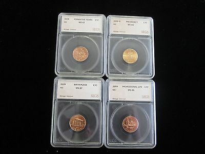 2009 Lincoln Cent 4 Coin Proof Set, MS++ RED, VERY NICE SETS