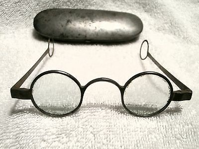 1770's GEORGIAN STEEL ROUND ENGLISH SPECTACLES WITH  WIDE ROUND LOOPS-WITH CASE!