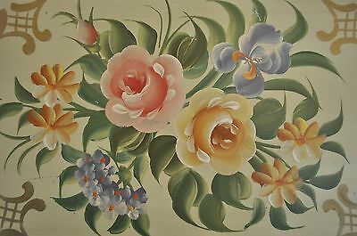 Pilgrim Art HAND PAINTED ROSES Tin Tole Toleware Serving Tray