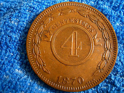 Paraguay: Scarce 4 C. 1870 Thick Copper Coin  Extra Fine++++/about Uncirculated!