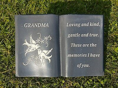 Grandma Grave Memorial Ornament Remembrance Grey & White Dove Book Grandma
