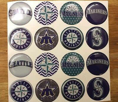 MLB SEATTLE MARINERS Epoxy Stickers 1 inch round for Bottle Cap   Craft  Projects d1eb2461ec15