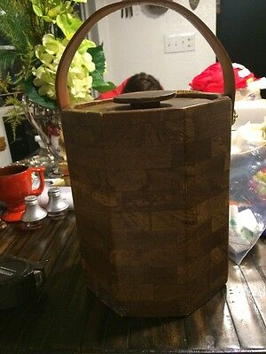 Mid Century Wood Look Large Ice Bucket With Leather Strap Handle