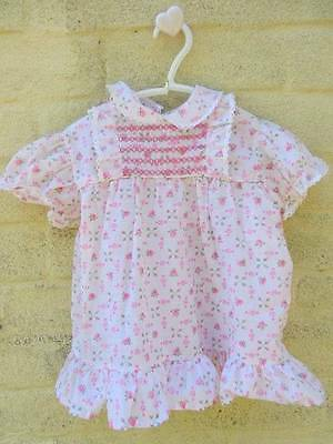 vintage baby dresses new summer cool pink or blue floral smocking age 1 -18 mths