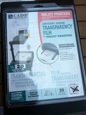 C-Line Transparency Film for Inkjet Printers Clear 8.5 x 11 20 Sheets 60937 NEW