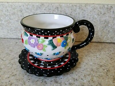 "Mary Engelbreit 2004 Brownlow Teacup & Saucer ""Oh So Breit"" Adorable"