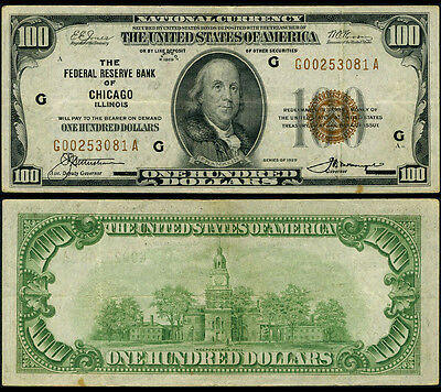 FR. 1890 G $100 1929 Federal Reserve Bank Note Chicago Very Fine