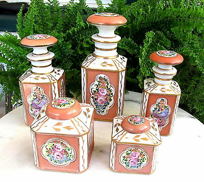Lovely French Hand Painted Porcelain Dresser Set W/ Scent Bottles & Jars