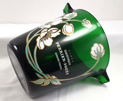 Vintage Perrier Jouet Green Glass Ice Bucket France Japanese Anemones Floral Vgc