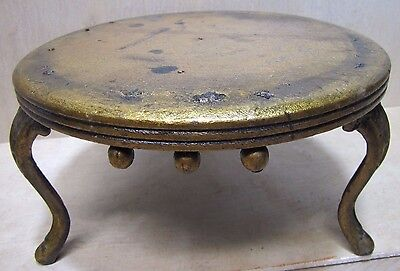 Antique Cast Iron Wooden Top Foot Stool Plant Stand Decorative Art Triple Legged