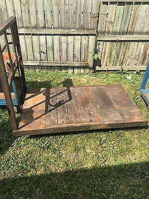 Vintage industrial cart with steel and rubber casters,steel and wood deck