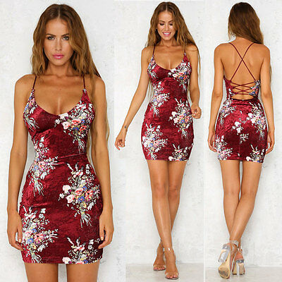 US Women's Summer Bandage Bodycon Evening Party Cocktail Casual Short Mini Dress