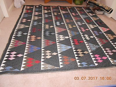 Vintage Handstitched Large Quilt Triangle Pattern
