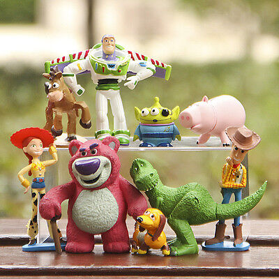 9 PCS Toy Story 3 Buzz Lighter Woody Jessie Figures Set Dinosaur Lotso Toys Doll