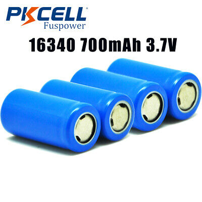 4x Flat Top CR123A Rechargeable Battery (ICR16340,700mAH,3.7v) PKCELL
