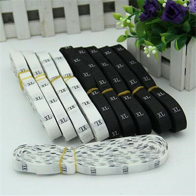 1 Rolls 500pcs Black/white Woven Clothing Garment Size Labels Tags Sewing s