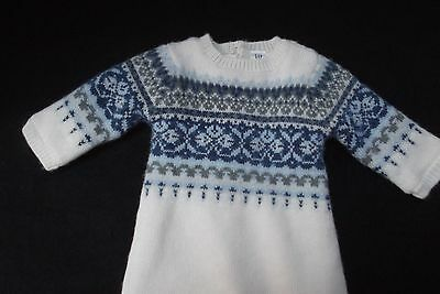 vtg baby Gap newborn wool knit nordic ski fair isle romper wht blue 3-6 mo NEW