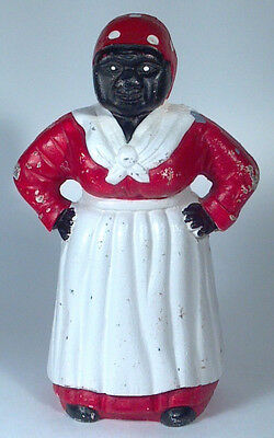 "Vintage Aunt Jemima Large 11"" Cast Iron Coin Bank Door Stopper Black Americana"