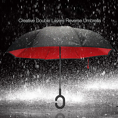 Waterproof Big Double C-Handle Layer Reverse Upside Down Inverted Umbrella