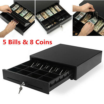 5 Bill 8 Coin Trays Cash Drawer Box Compatible Printers Heavy Duty POS Key Lock