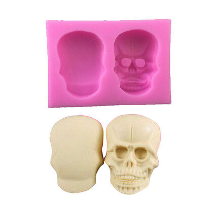 3D Skull Silicone Fondant Mould Cake Toppers Fimo Icing Sugarcraft Decorating