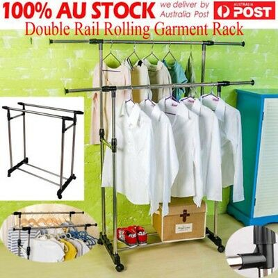 Double Rail Adjustable Portable Clothes Hanger Rolling Garment Rack With Wheels